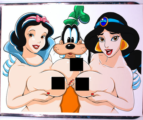 Snow White and Jasmine Comic Art Color Print NDE