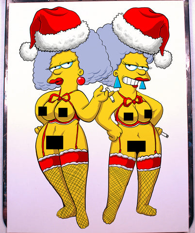 Patty and Selma Bouvier Pinup Comic Art Color Print NDE