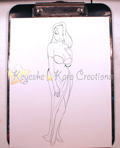 Jessica Rabbit Pinup Comic Art Ink Print