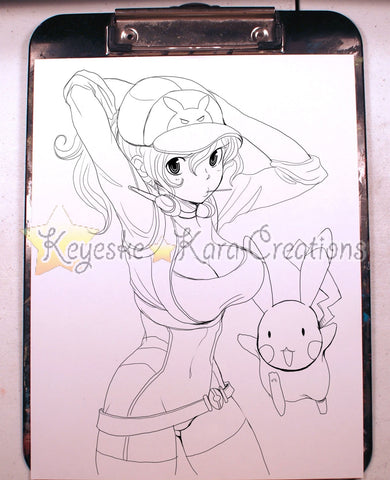 Pokemon Trainer Anime Comic Art Ink Print (S0N4)