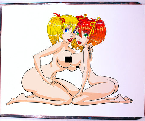 Mandy PB and Candy OC Pinup Comic Art Color Print NDE