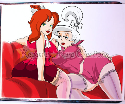 Pebbles Flintstone And Judy Jetson Pinup Comic Art Color Print