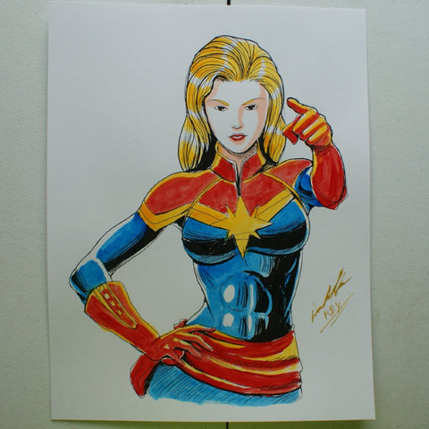 Captain Marvel Carol Danvers Original Comic Art