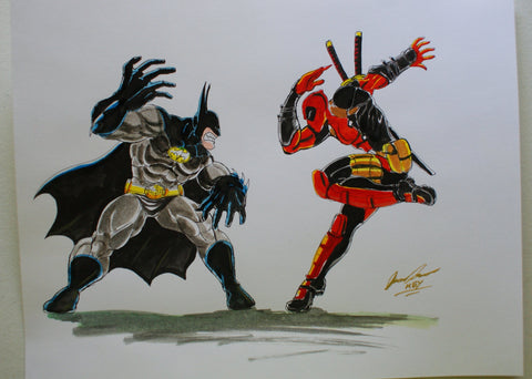 Batman VS DeadPool Original Comic Art