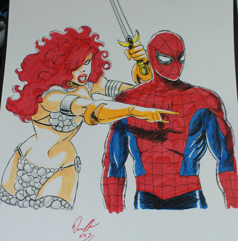 Spiderman & Red Sonja Original Comic Art