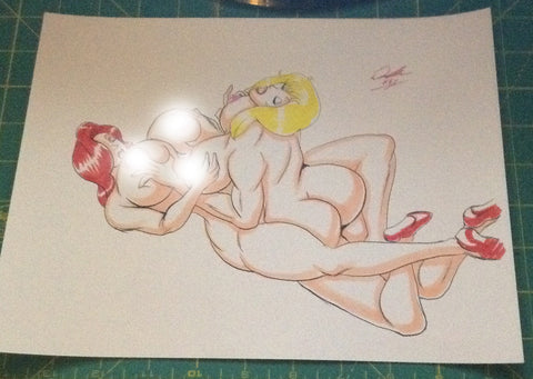 Jessica Rabbit & Holli Would Pinup Original Comic Art NDE