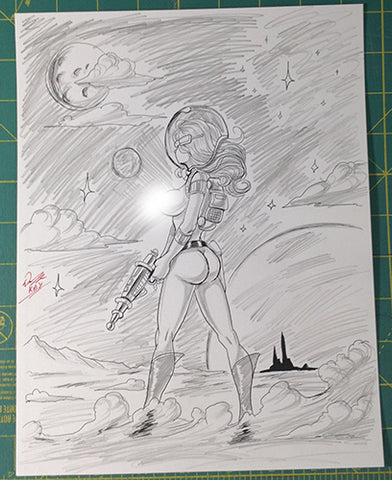 Space Girl OC Original Comic Art Pencil & Ink Sketch NDE