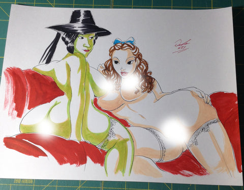 Dorothy & Wicked Witch Pinup Original Comic Art NDE