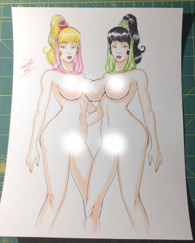 Jeannie Twins Pinup Original Comic Art NDE