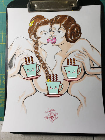 Princess Leia & Slave Leia Pinup Original Comic Art NDE