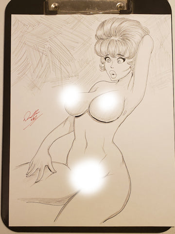 Annie Fanny Pinup Original Comic Art Pencil & Ink Sketch NDE
