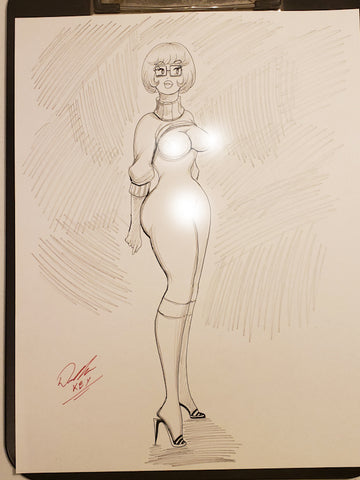 Velma Pinup Original Comic Art Pencil & Ink Sketch NDE