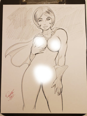 Power Girl Pinup Original Comic Art Pencil & Ink Sketch NDE