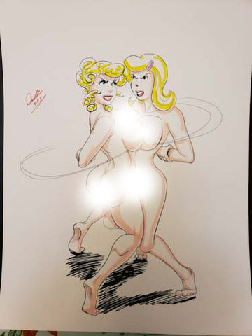 Blondie & Cookie Pinup Original Comic Art NDE