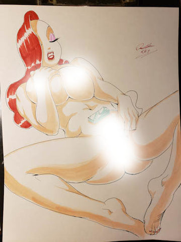 Jessica Rabbit Pinup Original Comic Art NDE