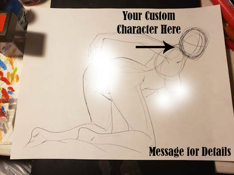 Custom Character Request (Face) in Pose #5 - Work in Progress Color Original Art NDE