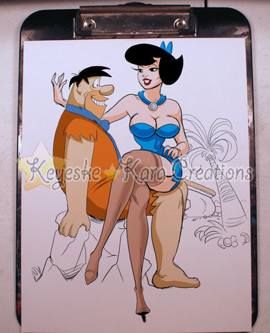Betty Rubble & Fred Pinup Comic Art Color Print