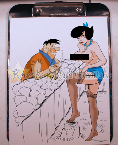 Betty Rubble & Fred Pinup Comic Art Color Print Nde