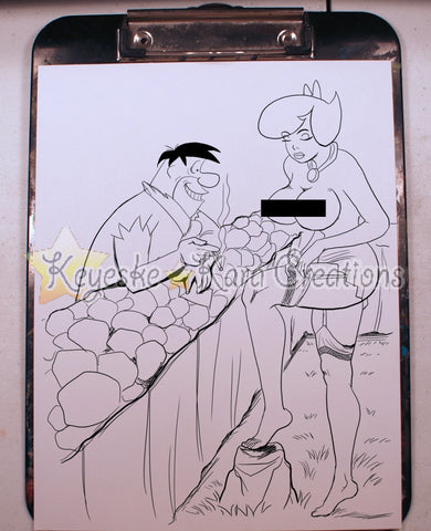 Betty Rubble & Fred Flintstone Pinup Comic Art Ink Print Nde