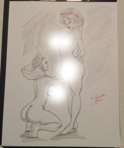 Snow White & Evil Queen Pinup Original Comic Art Pencil & Ink Sketch NDE