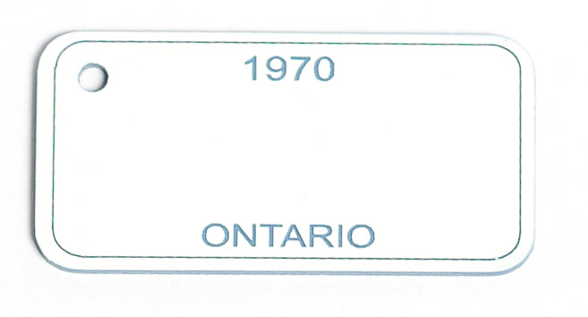 Ontario Key Tag - 1970 White/Blue