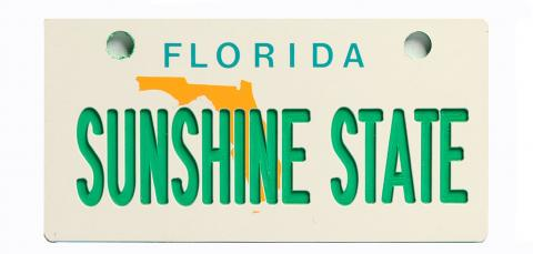Florida Map Bicycle Plate