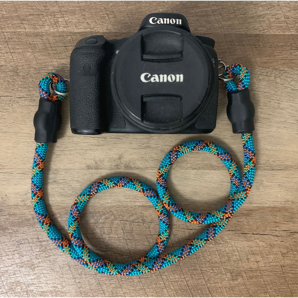 Climbing Rope Camera Strap - Blue Patterns - Just Pet Products