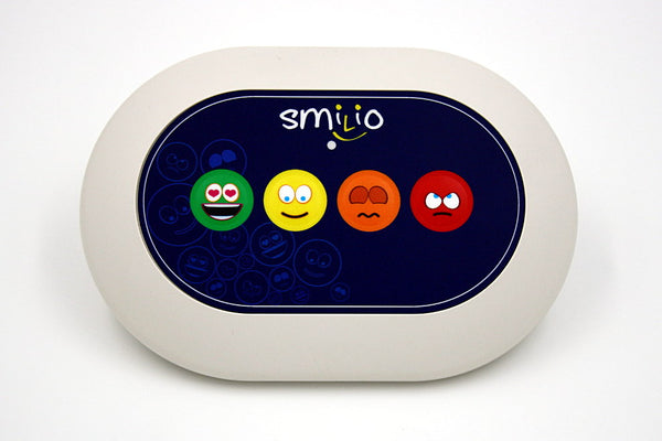 Borne de satisfaction Smilio 4 Smileys, 3 ans de services inclus, Borne de sondage - Smilio