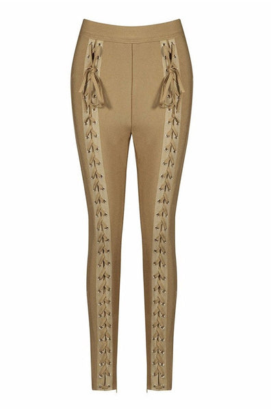 Cecily Bandage Pants - Khaki, Pants, [product_color]