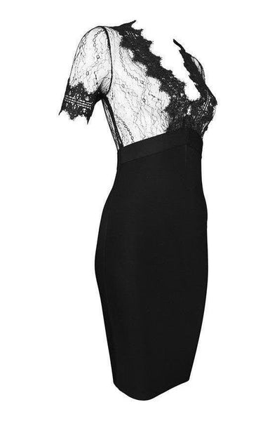 Vivien Lace Bandage Dress - Black, Dresses, [product_color]