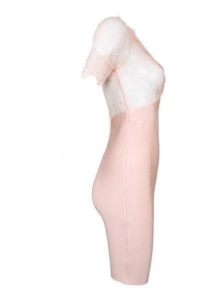 Vivien Lace Bandage Dress - Pink, Dresses, [product_color]