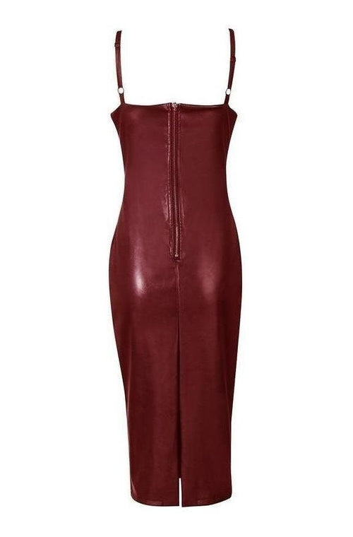 Arabella Leather Dress - Wine Red, Dresses, [product_color]