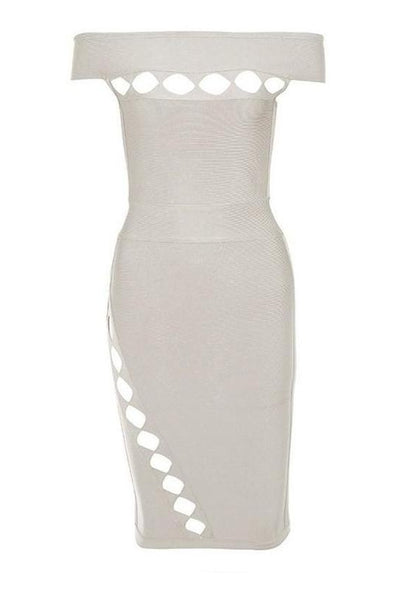 Paisley Bandage Dress - Nude