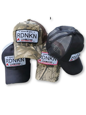 Embroidered  North Dakota RDNKN 6 Panel low profile Mesh Trucker hat