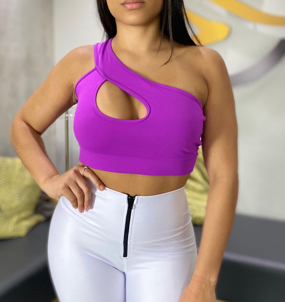 One shoulder top electric purple