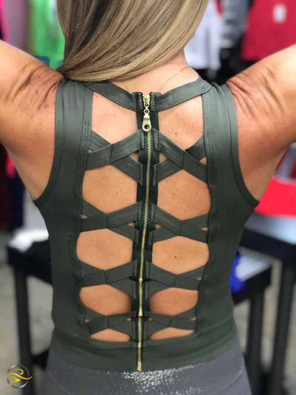 Zip Up Open Back Green