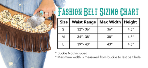CA Callie Fashion Belt Size Chart