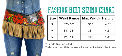 Annie Rose 1 Fashion Belt w/ fringe Size Chart