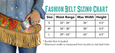 Annie Rose 2 Fashion Belt Size Chart