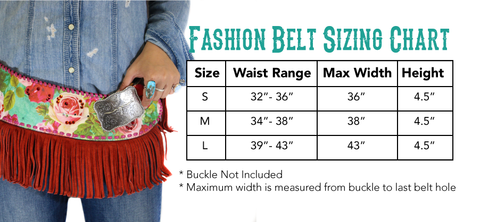 Blue Betty Fashion Belt Size Chart