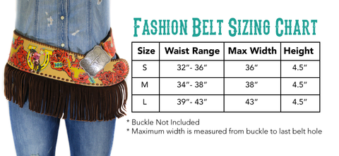 Bronc Bustin Rodeo 2 Fashion Belt Size Chart