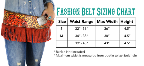 Stampede Shane Fashion Belt Size Chart