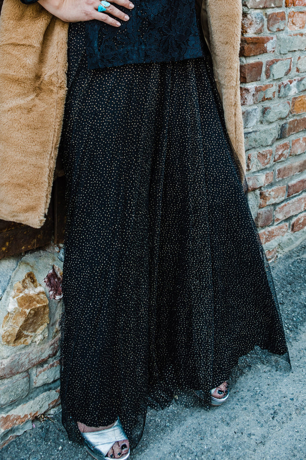 Black Maxi Skirt With Gold Sparkle