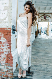 Sultry Silver Slip Dress
