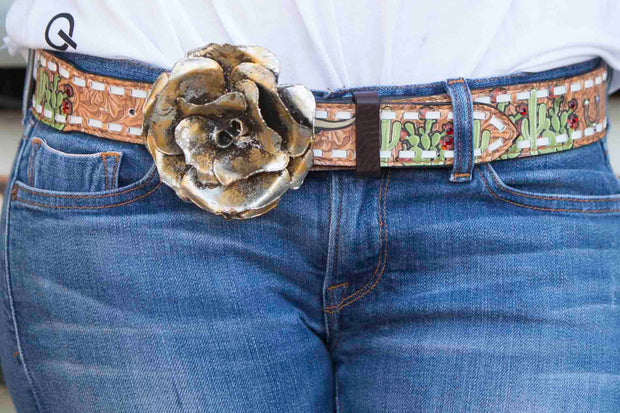 Cactus Steer Rodeo Belt (White Lace)