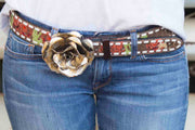 Cactus Buffalo Rose Rodeo Belt (White Lace)