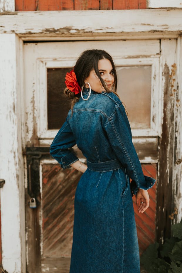 Rhinestone Cowgirl Denim Dress