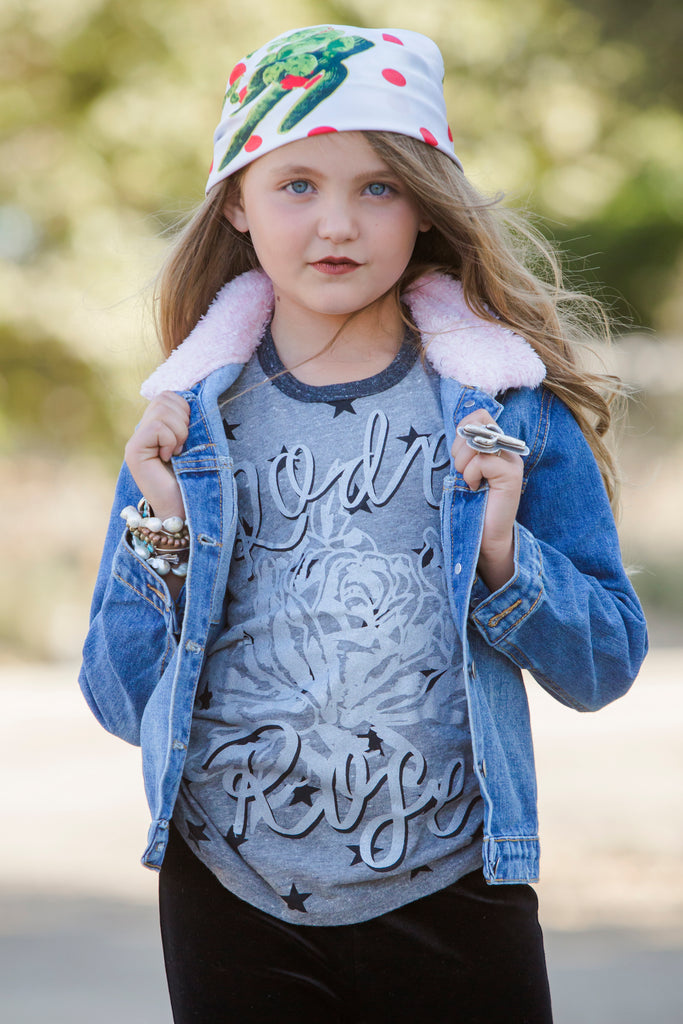 Kids Pink Collar Denim Jacket
