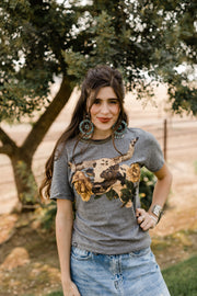 Libby Longhorn Grey With Camo Detail Tee