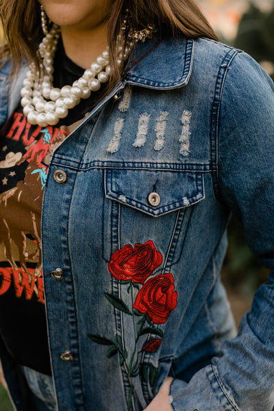Rugged Rose Denim Jacket